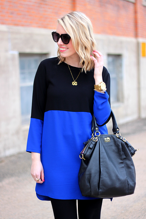 zara color block shift dress