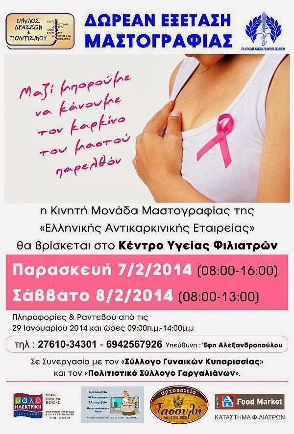 Δωρεάν Εξέταση Μαστογραφίας στα Φιλιατρά!