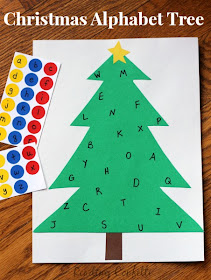 Practice letter recognition with this simple Christmas sticker tree