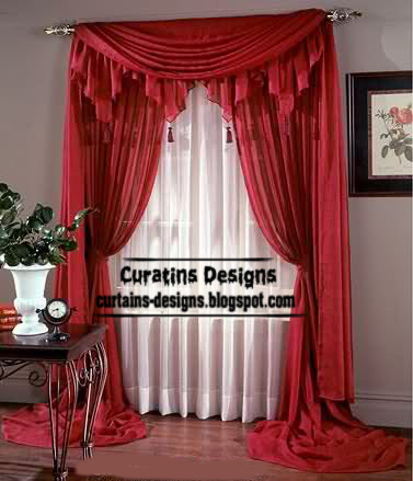 High Quality Contemporary Red Curtain Design With Red Valance, Long Red Curtain Style