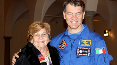 Paolo Nespoli and his mother Maria in 2010. She died on 2nd May while Paolo was at the ISS. Florida Today 2011.