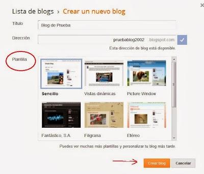elegir la plantilla del blog