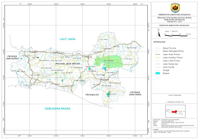 Peta Orientasi Kabupaten Grobogan Dalam Provinsi Jawa Tengah