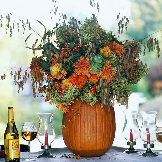 large pumpkin bouquet halloween centerpiece - Halloween Centerpieces Ideas