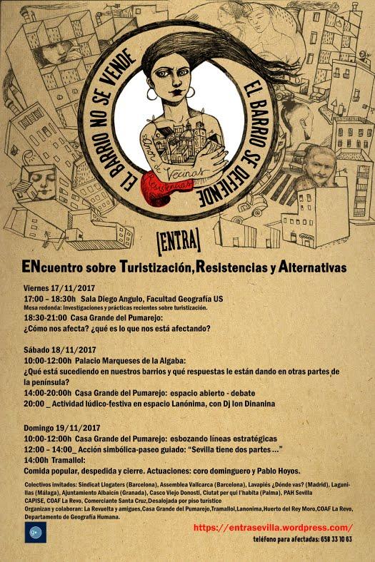 ENcuentro sobre Turistización,Resistencia y Alternativas en Sevilla. 17,18 y 19 de Noviembre.