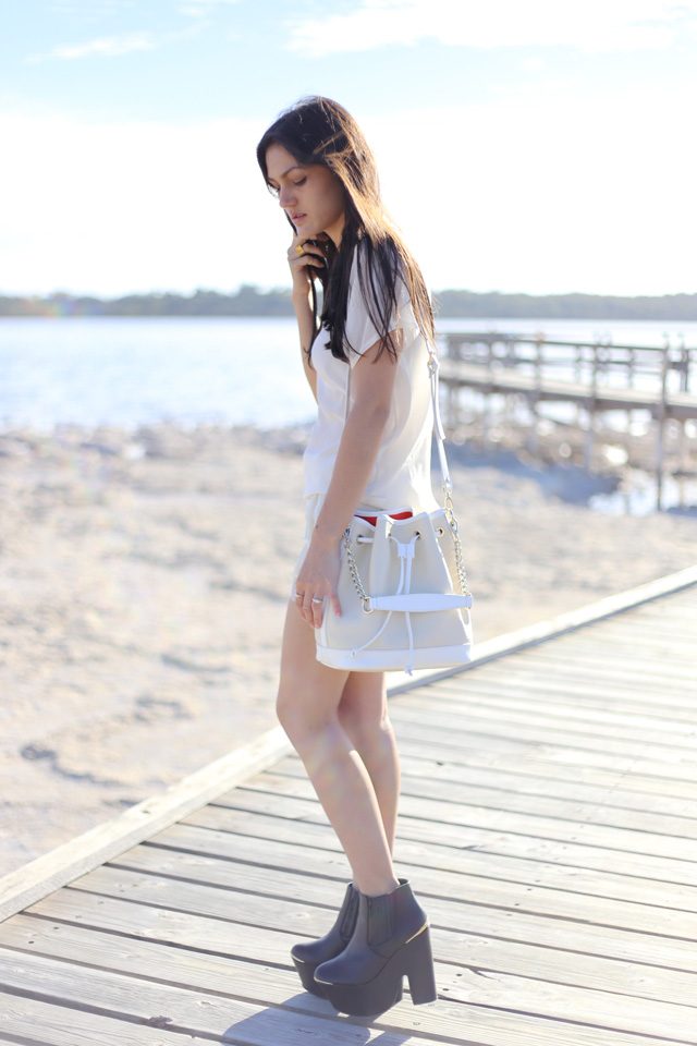 Love The Label silk lace trim shorts, Niclaire Hello Sailor bucket bag, Missguided boots, Sportsgirl silk tee, Australian blogger.
