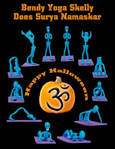 Flexible Skeleton does Sun Salutation in poster form Surya Namaskar