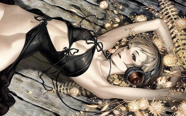 sexy girl anime girl black dress headphone Blonde Short Hair listening hd wallpaper desktop pc wallpaper a58