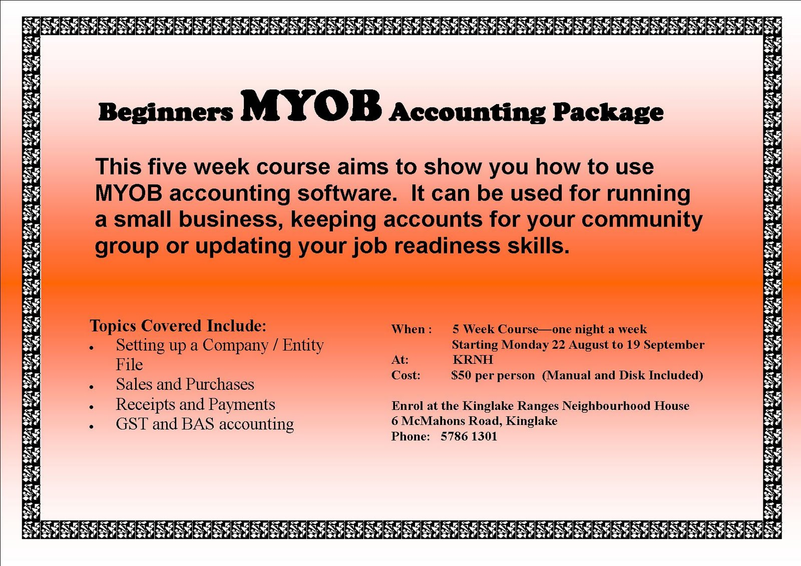 myob courses for beginners pdf
