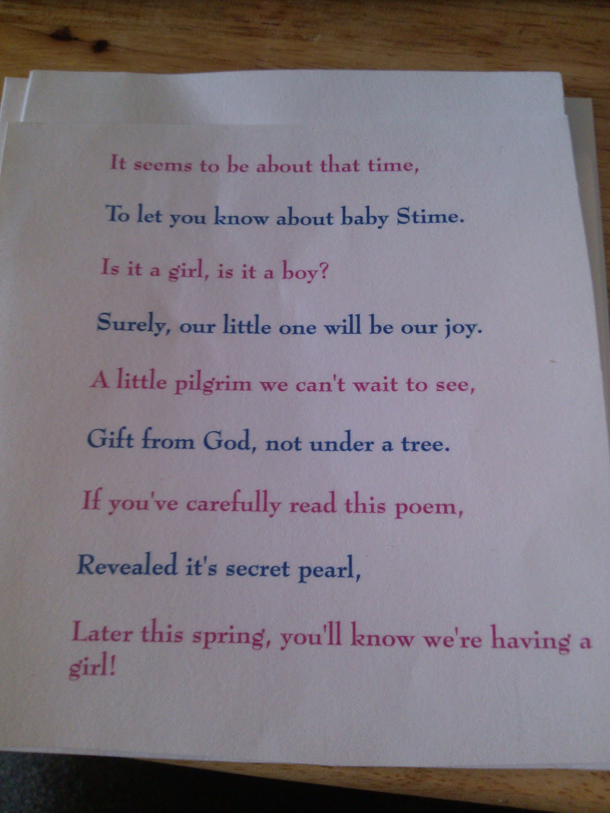 Inside the envelope was the following poem: