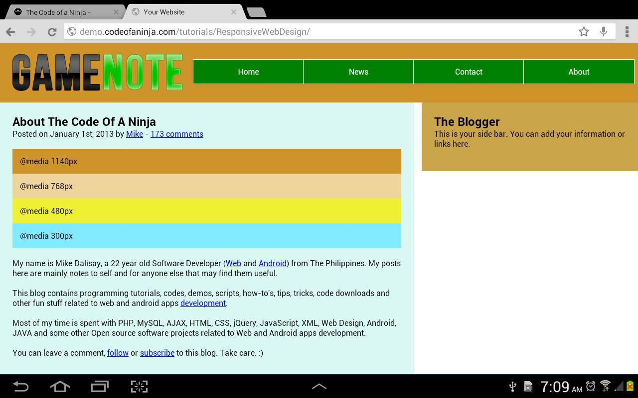 Responsive Web Design Code
