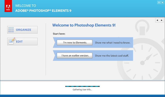 Many times I have seen people talking about a problem with Adobe Photoshop Elements 8.0 and 9.0, where gathering information progress bar doesn't go away even after multiple hours.Here is a common workaround that worked for most of the folks I have talked to.Just have a look and give it a try in case you are also facing this issue:-1. Go to C:\Program Files\Adobe\Elements 9 Organizer location2. Double click PhotoshopElementsOrganizer.exe for launching Elements Organizer3. Click on