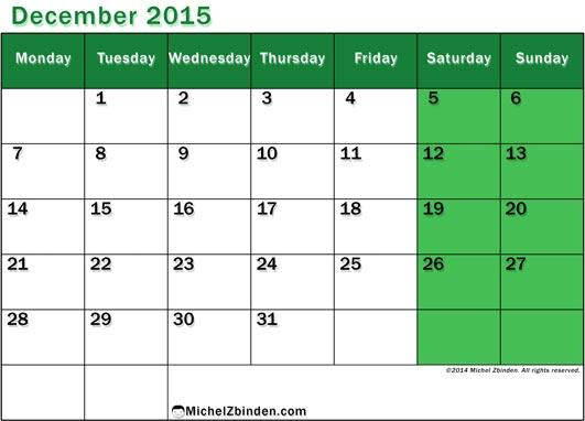 December 2015 Calendar A4