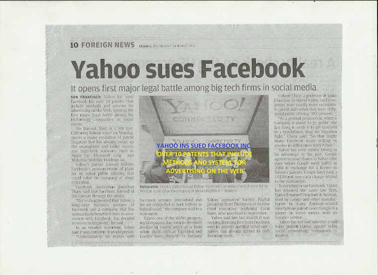 Yahoo sues Facebook,over 10 patents-methods & system for advertising on the web.Nu-Prep100 USpatent