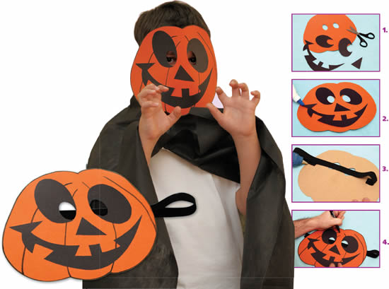 Atividade Halloween Máscara de Abóbora Como fazer