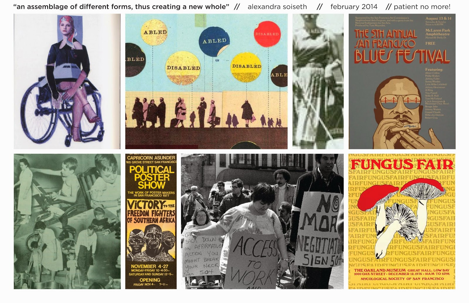 moodboard of collaged images, 1970's San Francisco posters, images from social movements