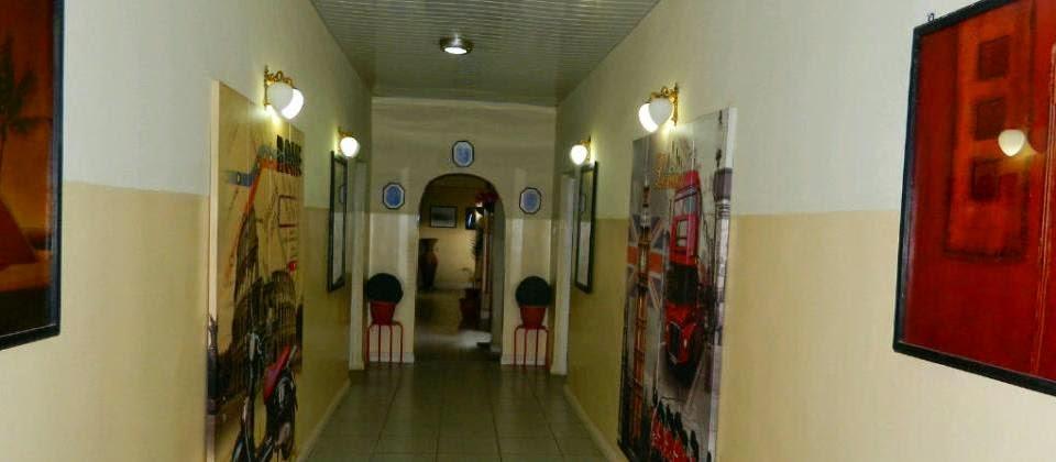 A corridor in Redgate Hotel