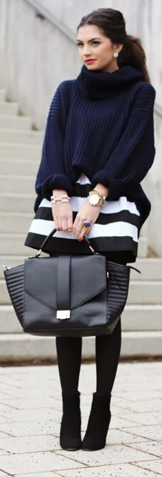 Amazing Sweater, Black & White Skirt and Suitable Leather Handbag with High Heel Shoes