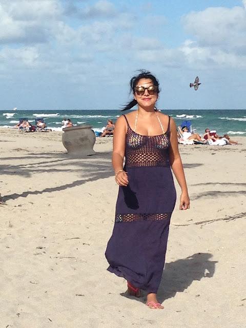 Friday em Miami - Look de praia com vestido longo