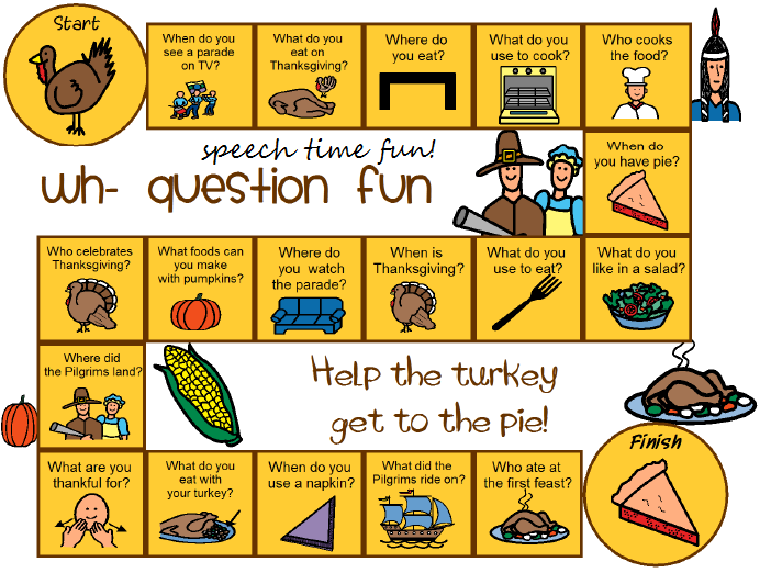 Thanksgiving Wh- Question Board Game FREEBIE!
