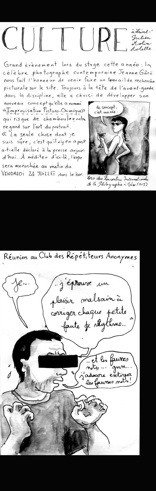 En vrai, l'expo de Jeanne était de toute beauté. Et le répétiteur, c'est celui qui fait répéter les choristes, là il s'agissait d'Emmanuel Le Poulichet, pianiste, auteur, compositeur et tout et tout.