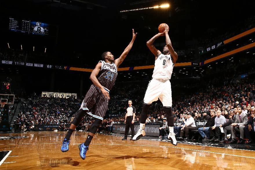 Andray Blatche of the Brooklyn Nets takes a jumper