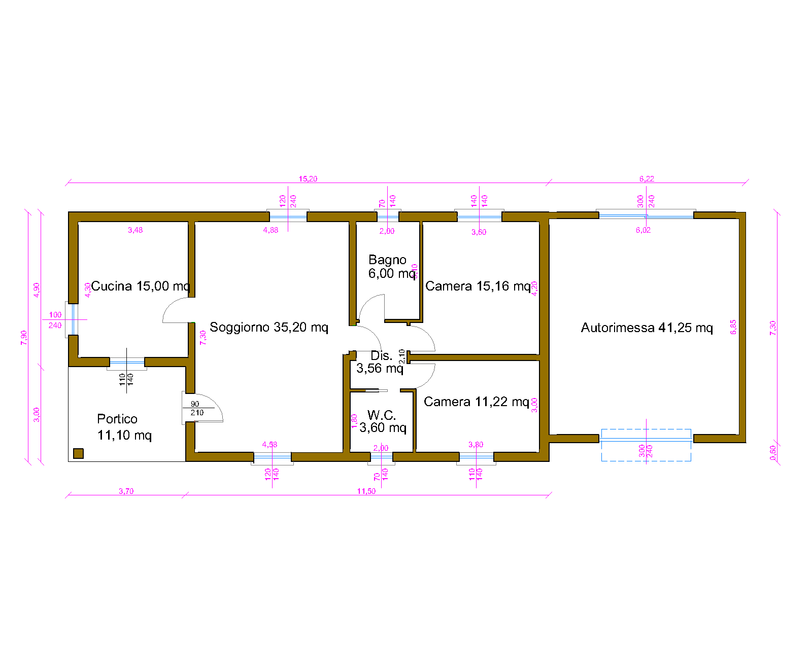 Progetti di case in legno casa 109 mq autorimessa 41 mq for Progetti di piani portico proiettati