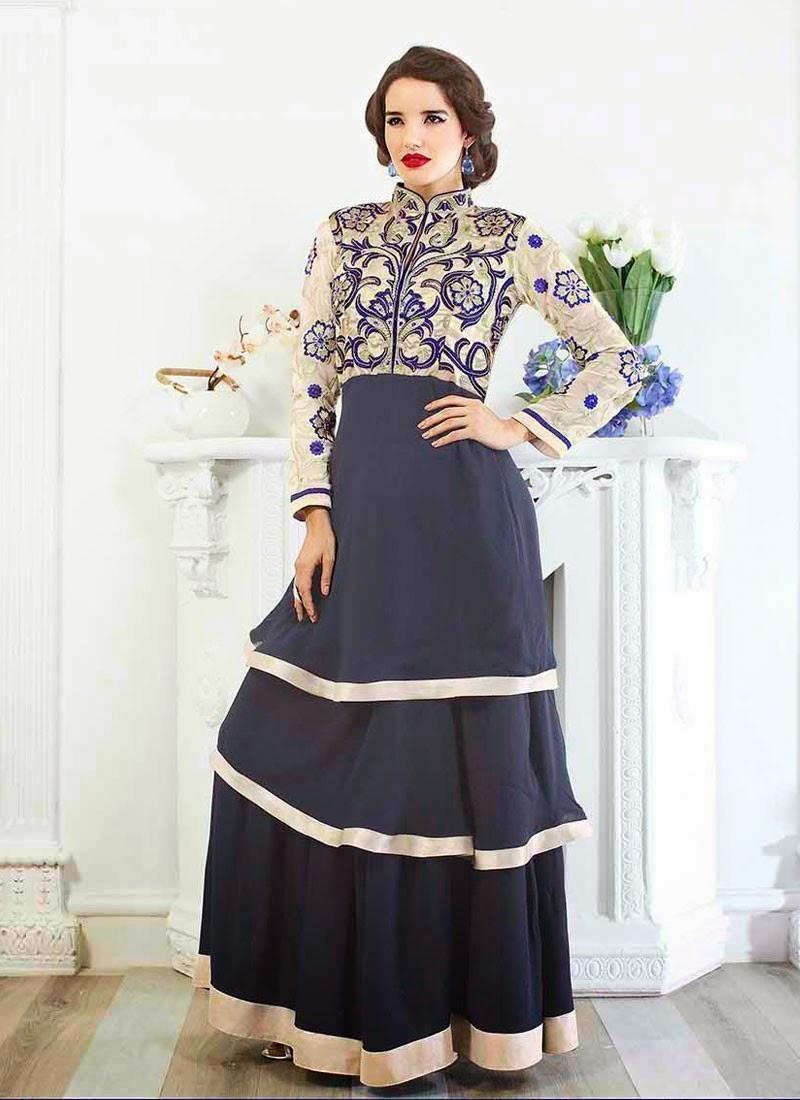 Off White Or Navy Blue Designer Wear Salwar Kameez