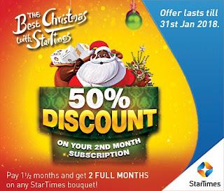 Xmas Promo: StarTimes begins 50 percent discount off subscription till January 31
