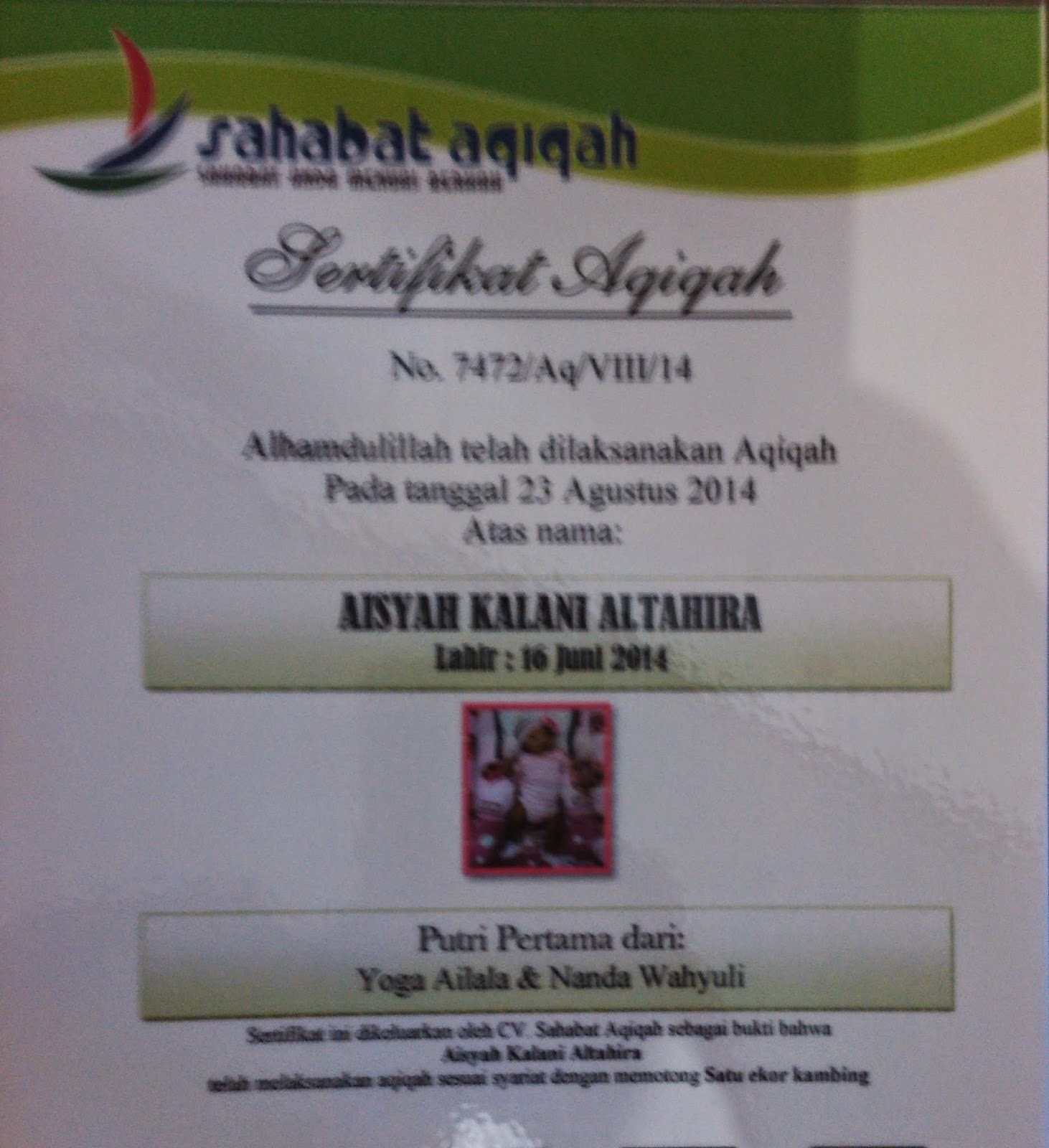 Aqiqah Aisyah Kalani Al Tahira