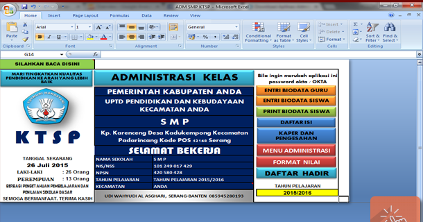 Aplikasi Administrasi Kelas Smp Dengan Microsoft Excel Sisi Edukasi Klik