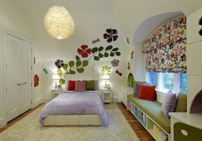 цветочный мотив в дизайне комнаты для подростка девушки фото