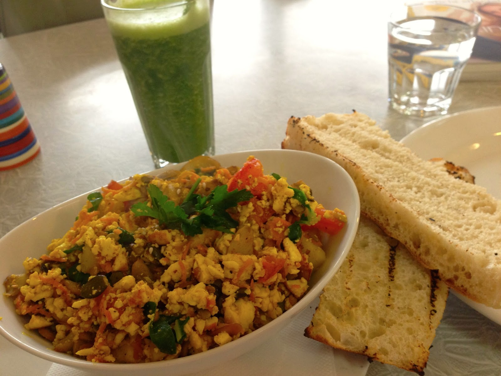 Tofu Scramble, green juice and turkish bread - Bliss Organic Cafe, Adelaide