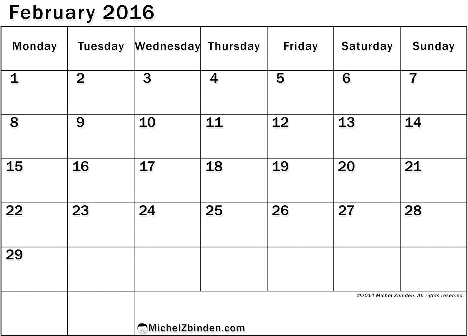 ... 2016 Blank Calendar Cute, February 2016 printable Calendar