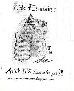 Ilmuwan Einstein memakai pakaian khas Suroboyoan Cak dan Ning Jawa Timuran....