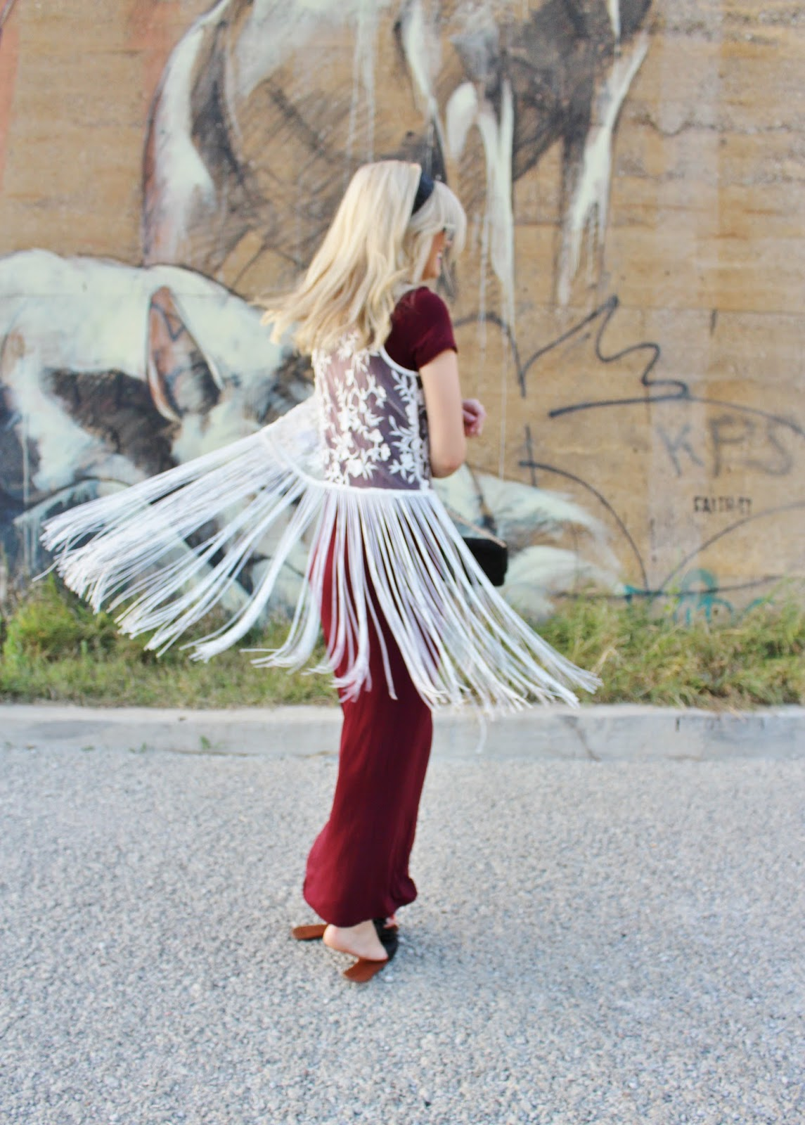 bijuleni-boho look and lace fringe vest