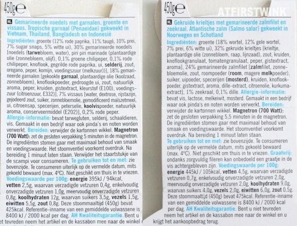 Ingredienten van AH stoommaaltijden Scampi Chili en Zalm Dille