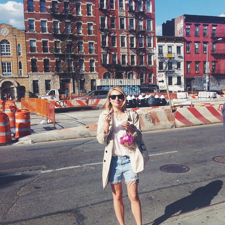NYC Houston Street refind denim cutoffs trench coat