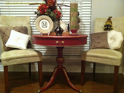 Annie Sloan Emperor's Silk Red Chalk Paint Table Makeover, gold gilding wax, dark wax