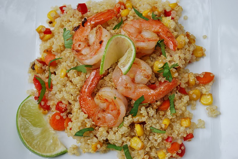 Ginger Lime Shrimp Quinoa with Red Pepper and Yellow Corn