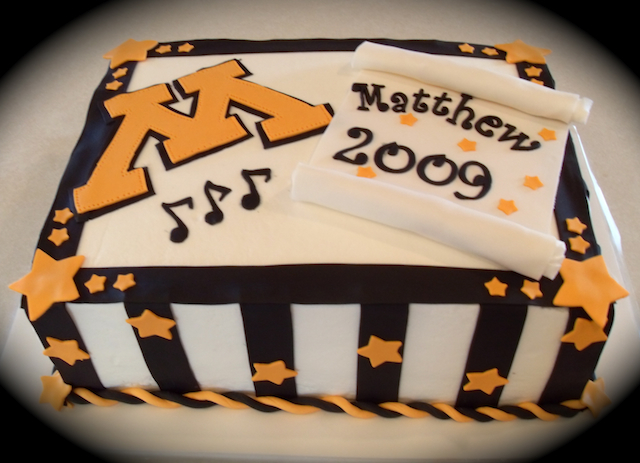 Graduation Cake Music Scroll Letter