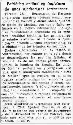 La Vanguardia, sobre el Torneo de Ajedrez de Hastings 1953