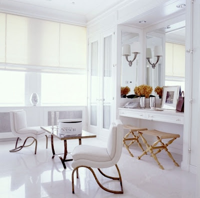 White with gold bench
