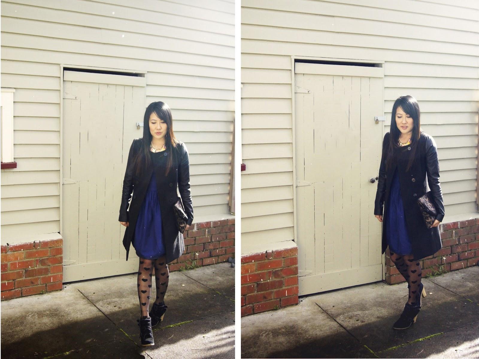 leather sleeves, witchery, suede shoes, black wool jacket, karen walker dress, leather sleeve jacket