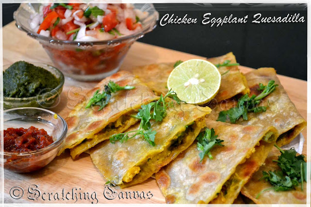 Chicken Eggplant in Mustard Sauce Quesadilla