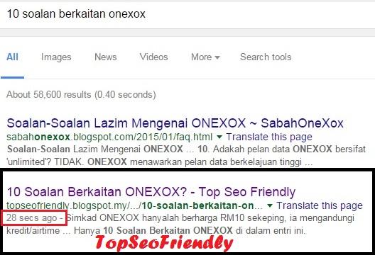 Entri Terpantas Diindex Oleh Googlebot