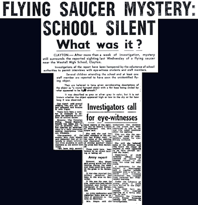 Flying Saucer Mystery – School Went Silent - The Dandenong Journal 4-14-1966