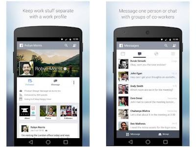 Facebook at Work screen