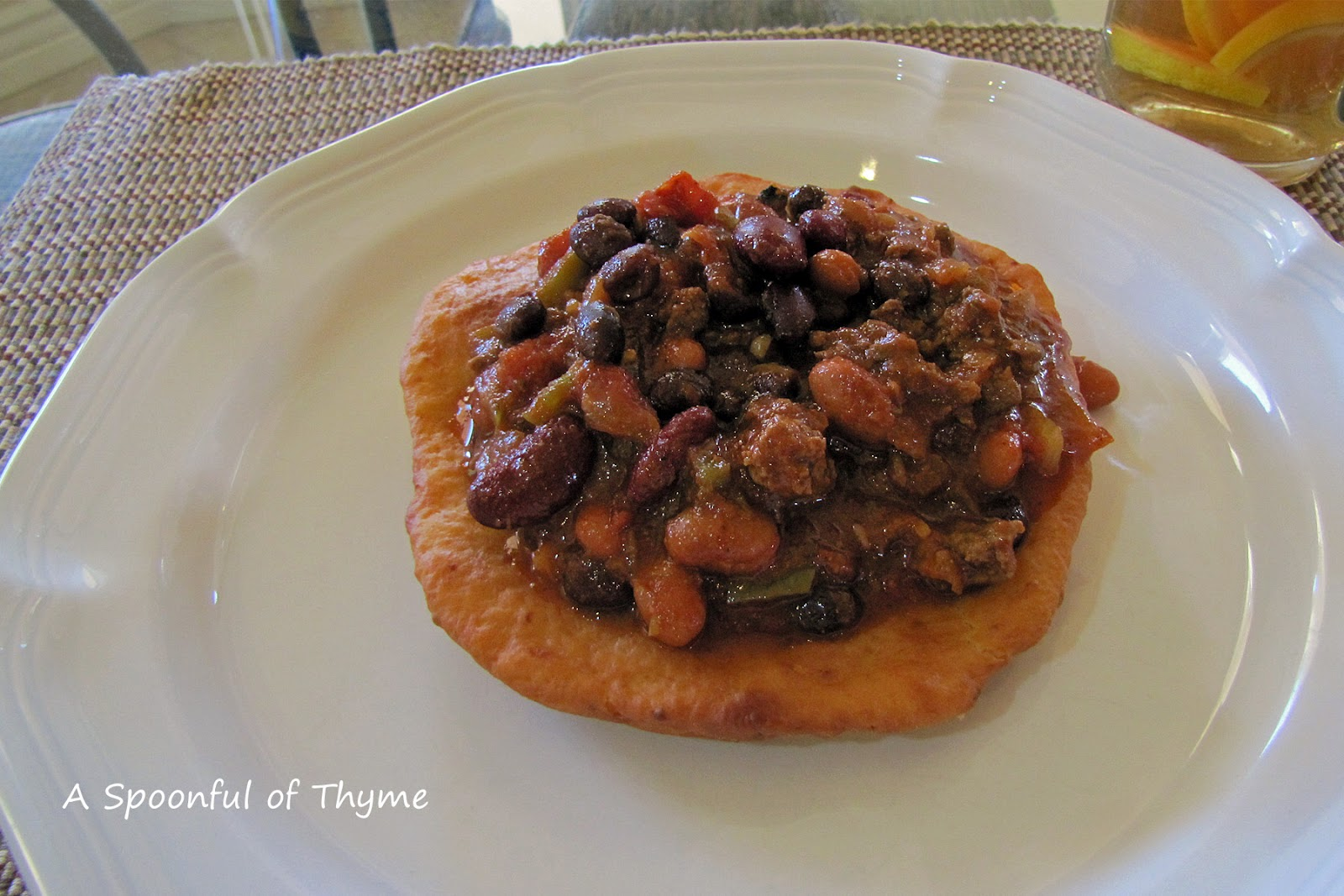 Spoonful of Thyme: Navajo Tacos - Beef and Three Bean Chili