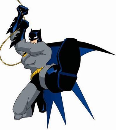 Dibujo de Batman sosteniéndose de una cuerda y su patada mágica